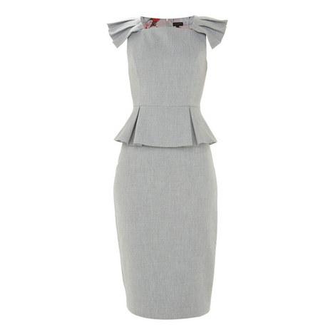 Daizid Pleated Shoulder Peplum Dress, ${color}