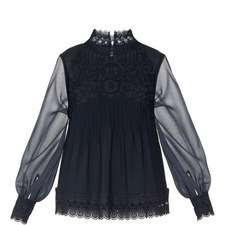Cailley Lace Pintuck High Neck Top