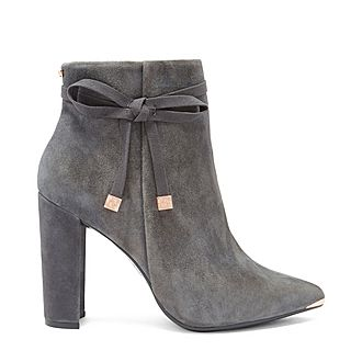 Qatena Suede Bow Detail Ankle Boots