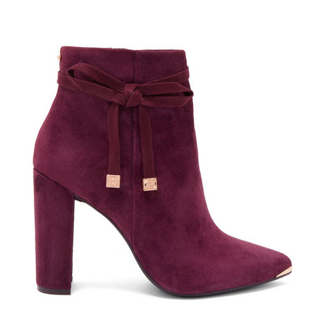 Qatena Suede Bow Detail Ankle Boots, ${color}