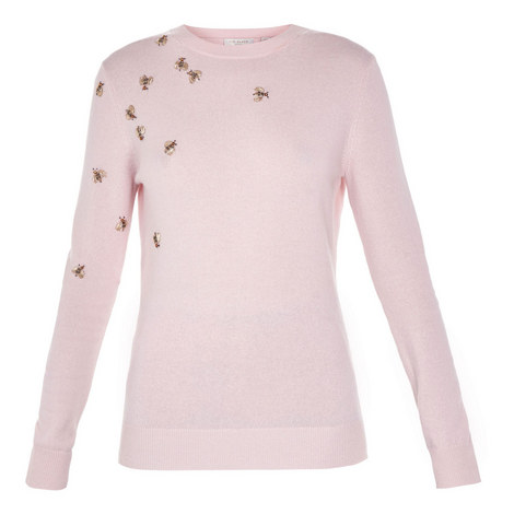 Calliee Bee Embellished Wool Sweater, ${color}
