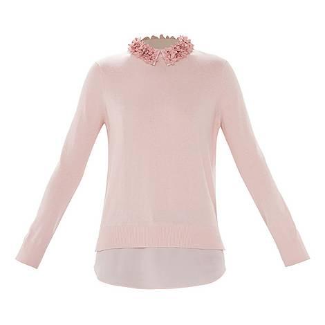 Nansea Floral Collar Mockable Sweater, ${color}