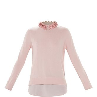 Nansea Floral Collar Mockable Sweater