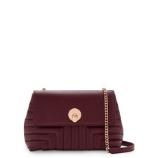 Ssusiee Quilted Circle Lock Crossbody Bag