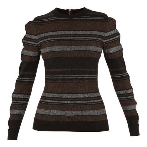 Jelinaa Integral Bow Sleeve Stripe Sweater, ${color}