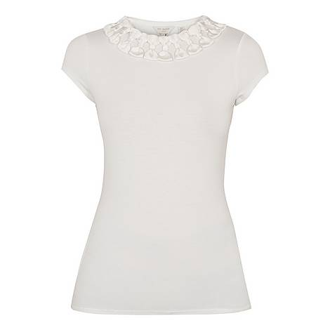 Charre Bow Neck Trim Detail T-Shirt, ${color}