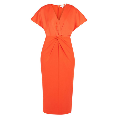 Ellame Wrap Over Full Sleeve Bodycon Dress, ${color}