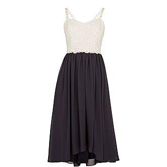 Rosemary Daisy Dip Hem Pleat Midi Dress
