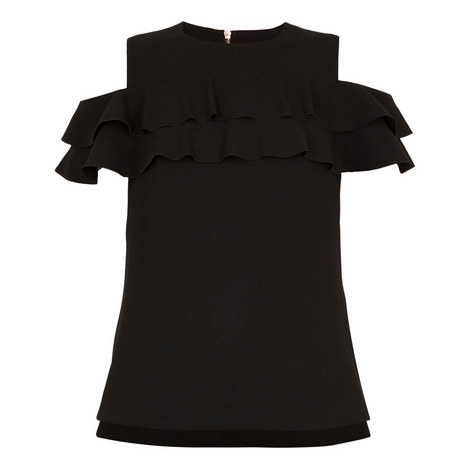 Hopee Cold Shoulder Double Frill Top, ${color}