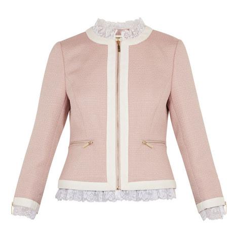 Ennio Lace Trim Contrast Crop Jacket, ${color}