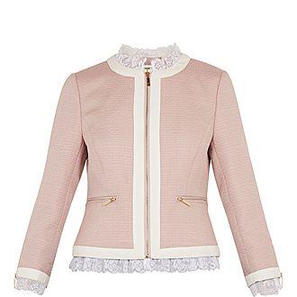 Ennio Lace Trim Contrast Crop Jacket
