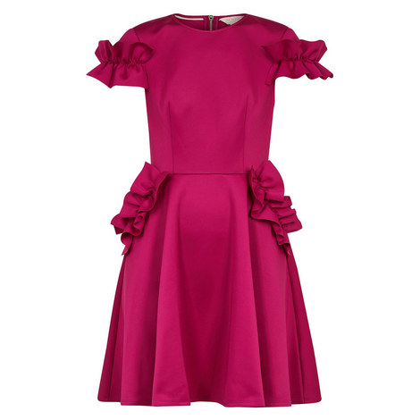 Luuciee Ruffle Detail Skater Dress, ${color}