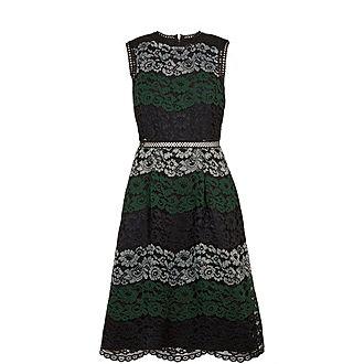 Inarra Colour Block Lace Dress