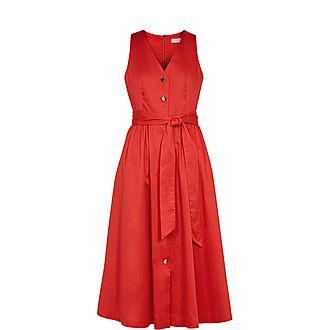 Ryylie Button Down Cotton Midi Dress