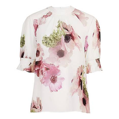 Cayliee Neapolitan Puff Sleeve Top, ${color}