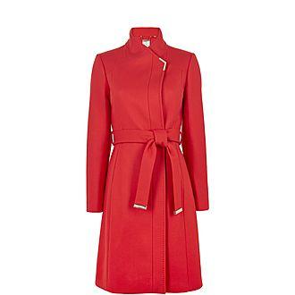 Ellgenc Long Belted Wrap Coat
