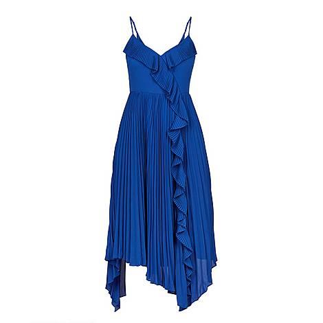 Kattyy Strappy Pleated V-Neck Dress, ${color}