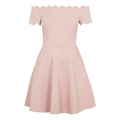Fellama Bardot Scallop Skater Dress, ${color}