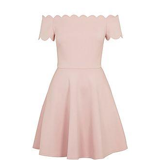 Fellama Bardot Scallop Skater Dress