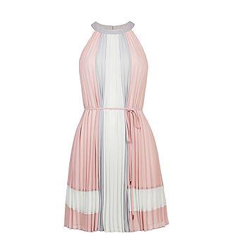 Lellian Contrast Pleated Dress