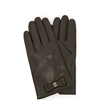 Bblake Bow Detail Leather Gloves