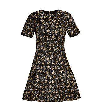 Divwine Floral Jacquard Skater Dress