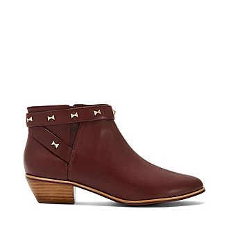 Homada Studded Bow Ankle Boots