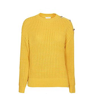 Whtnee Button Sleeve Cable Knit Sweater