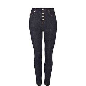 Leppie Button Detail Front Jeans