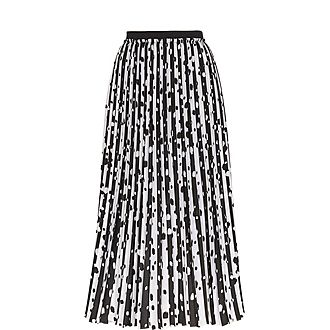 Vyvian Polka Dot Pleated Midi Skirt