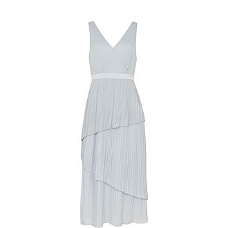 Ionaa Pleated Tiered Midi Dress