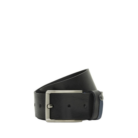 Contrast Tab Leather Belt, ${color}