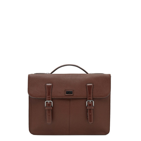 Bengal Leather Briefcase Satchel, ${color}