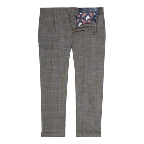 Squared Slim Fit Checked Trousers, ${color}