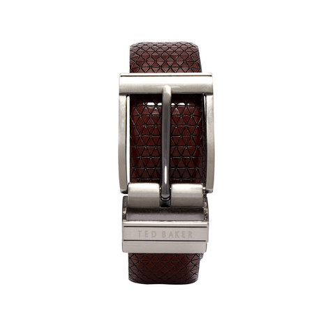 Tatti Reversible Textured Leather Belt, ${color}