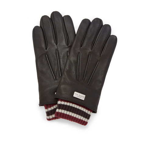 Conver Ribbed Cuff Leather Gloves, ${color}