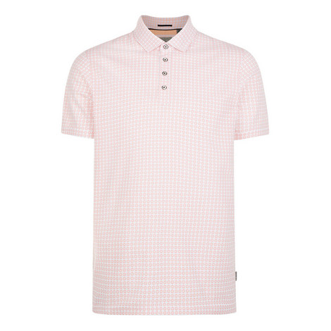 Flee Geo Print Cotton Polo Shirt, ${color}