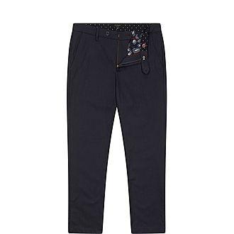 Squishy Slim-Fit Herringbone Woven Trousers