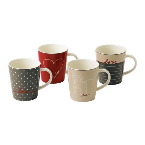 Set of 4 ED Signature Love Mugs, ${color}