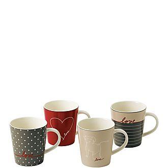 Set of 4 ED Signature Love Mugs