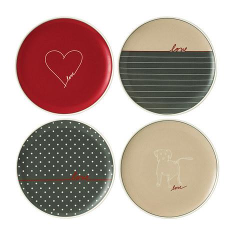 Set of 4 ED Signature Love Plates 21cm, ${color}
