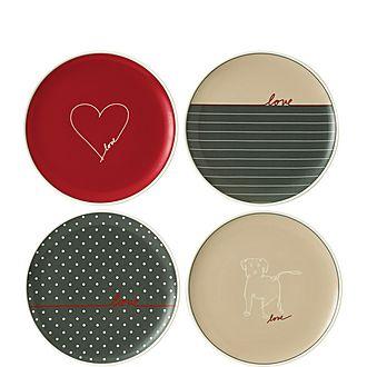 Set of 4 ED Signature Love Plates 21cm