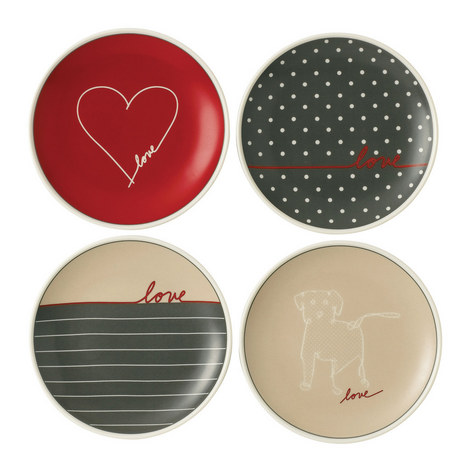 Set of 4 ED Signature Love Plates 16cm, ${color}