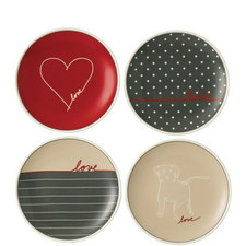 Set of 4 ED Signature Love Plates 16cm