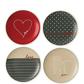 Set of 4 ED Signature Love Plates 16cm