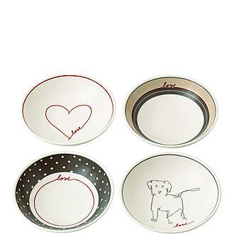 Set of 4 ED Signature Love Bowls 14cm