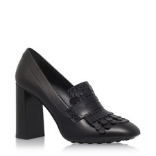 T70 Laser Cut Heeled Loafers