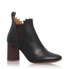 Lauren Scalloped Edge Ankle Boots
