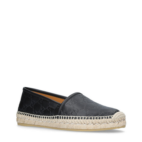 Double-GG Leather Espadrilles, ${color}