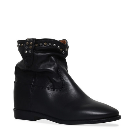 Cluster Stud Wedge Boots, ${color}